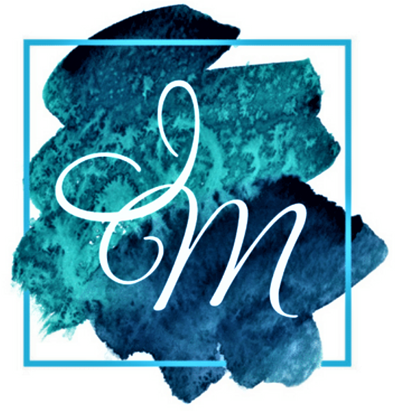 The logo is a watercolor swash of blues and teals bracketed by an aqua square frame. The letters I and M interlock in white atop the color swash.