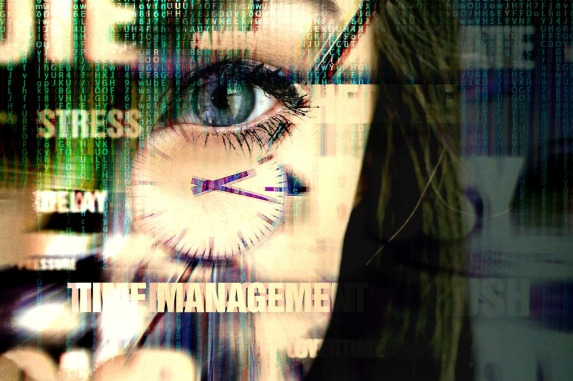 Graphic of a woman's eye with the words stress, delay, and time management imposed across her face.